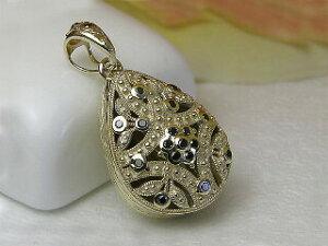 『 アンティーク調 K10ブラックダイヤペンダント メモリアルジュエリー悼環(とわ)』アラベスク ペンダントトップ 遺灰 遺骨 思い出