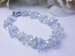真珠ブレス送料無料淡水真珠&アクアマリンブレスレットパールジュエリー水晶真珠婚30年おすすめ品可愛いプレゼント人気誕生日ブルー水色