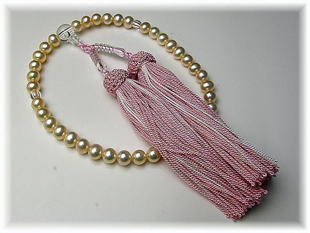 西陣織の袱紗サービス 『ご先祖さまを大切に』淡水真珠のお念珠ピンク
