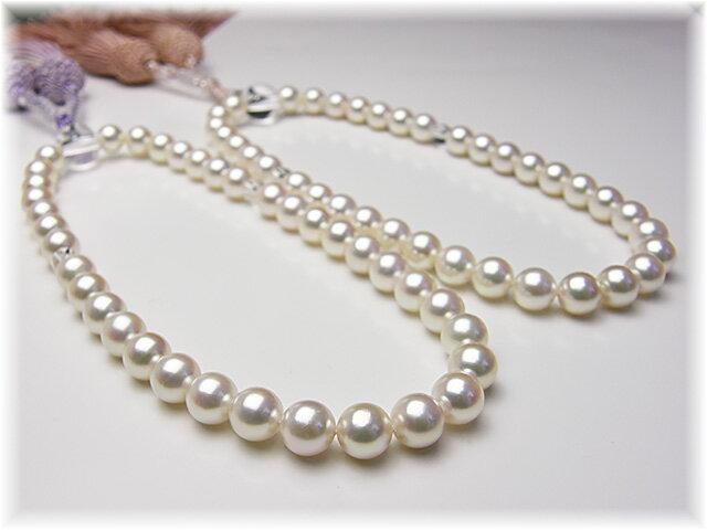 西陣織の袱紗サービス故人を偲ぶ真珠の念珠 あこや真珠7×7.5ミリ