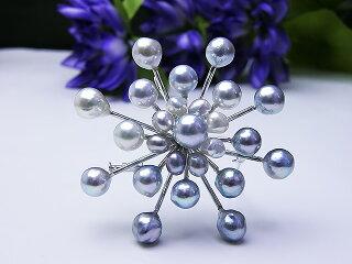 ほなな通貨コーナーの商品ナチュラルカラーブローチパールジュエリー真珠婚30年豪華ブルー天然お祝い人気