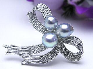 真珠ブローチ送料無料リボンブローチパールジュエリー真珠婚30年可愛いプレゼント人気1点限り個性的目立つあこや真珠