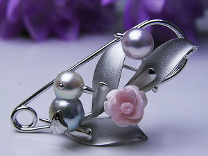 真珠ブローチ 送料無料あこや真珠チーウー安全ピンブローチパール ジュエリー 鳥 真珠婚 30年 とり 手作り 可愛い プレゼント 人気 1点限り 個性的 目立つ 癒し系