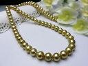 真珠ネックレス 送料無料南洋金色ロングネックレ8.0×10.2ミリパール ジュエリー 1点限り 真珠婚 30年 おすすめ品 金色 南洋真珠 ゴ…