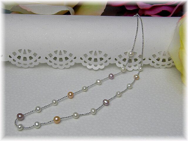 【レディース】【真珠 ネックレス】『 可愛いネックちゃんシリーズ 淡水真珠ステーションネックレス』FN-2721Z