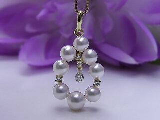 真珠ペンダント送料無料K18白蝶あこや&ダイヤペンダントP38205パールジュエリー入学式真珠婚30年おすすめ品あこや真珠ピンクダイヤ人気記念日
