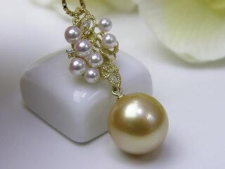 真珠ペンダント送料無料K18南洋金色ペンダントP8051698パールジュエリーゴールド真珠婚30年おすすめ品イエロー南洋真珠あこや真珠ダイヤ人気誕生日