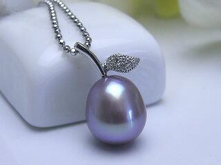 真珠ペンダント送料無料SV有核淡水真珠天然色ペンダントパールジュエリーパープル真珠婚30年おすすめ品可愛い誕生日