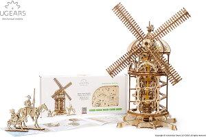 Ugears ユーギアーズ 風車 70055 Tower Windmill 木のおもちゃ 3D立体 パズル 知育 ウッドパズル 工作キット 木製 模型 キット つくるんです