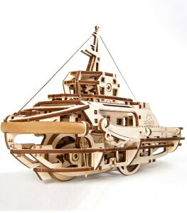 Ugears ユーギアーズ タグボート 70078 Tugboat 木製 ブロック DIY パズル 組立 想像力 創造力 おもちゃ 知育 ウッドパズル 3D 工作キット 木製 模型 キット つくるんです