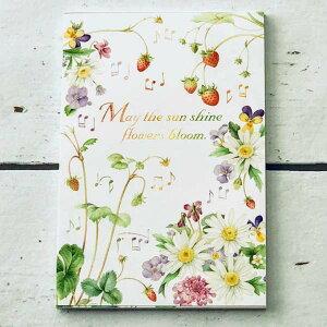 はがき箋 ブルーム イチゴとマーガレット フロンティア 花柄 音楽 音符 五線譜 デザイン おしゃれ 大人