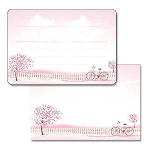 ミニレターセット 桜と自転車 デザイン おしゃれ 大人 かわいい 写真 フォト フロンティア