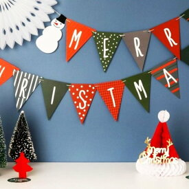 クリスマス ガーランド 飾り クリスマス雑貨 おしゃれ ガーランド フラッグ 飾り付け パーティー サンタ MERRYCHRISTMAS ガーラント ぺたんこ配送