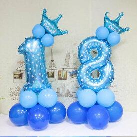 数字 バルーン 立体セット 誕生日 ブルー ナンバーバルーン 100cm超え 風船 飾り付け サプライズ 大きい プレゼント 安い おもちゃ 大きめ ぺたんこ配送