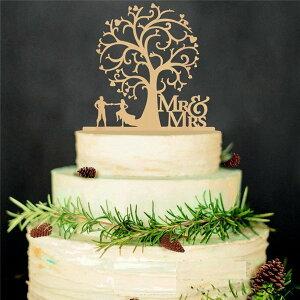ケーキ トッパー プレート 木製 結婚式 花嫁 飾り デコレーション ケーキトッパー 新郎 新婦 ミスター ミセス ウエディング