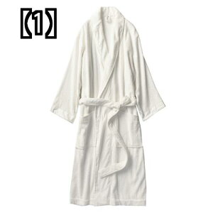 男性と女性のカップルのための非 印刷の綿 タオル 地のローブとナイトガウンは浴衣を長くしました和風 優れた吸水性と速乾性