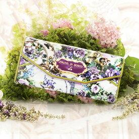 陶磁器のようなツヤのギャルソン財布 Salu Servre (サルー セーヴル)フルッティディボスコ 財布 レディース 長財布 ギャルソンウォレット アートレザー エナメル 花柄 フラワーモチーフ 個性的 ホワイト/ブルー