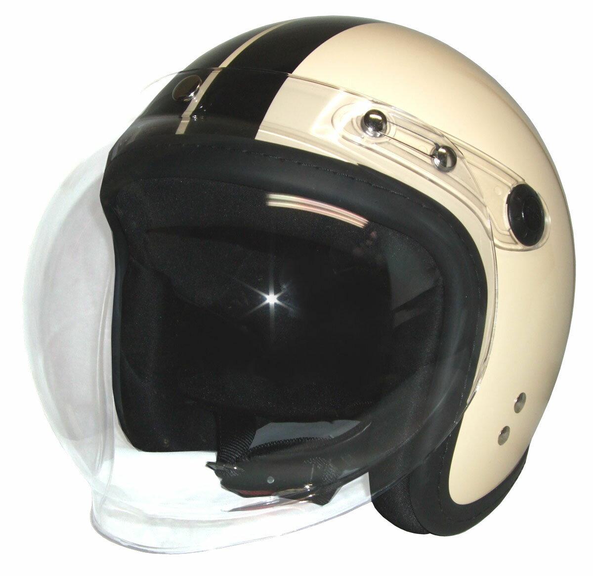 ジェットヘルメット アイボリー/ブラック 開閉式バブルシールド