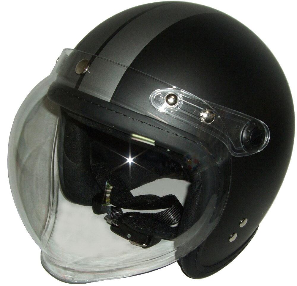 限定特価中 半艶BK/TI フチゴム糸縫ジェットヘルメット開閉式バブルシールド