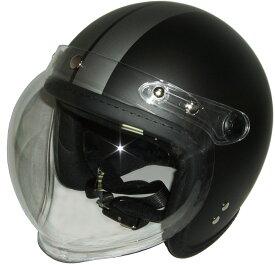 半艶BK/TI フチゴム糸縫ジェットヘルメット開閉式バブルシールド
