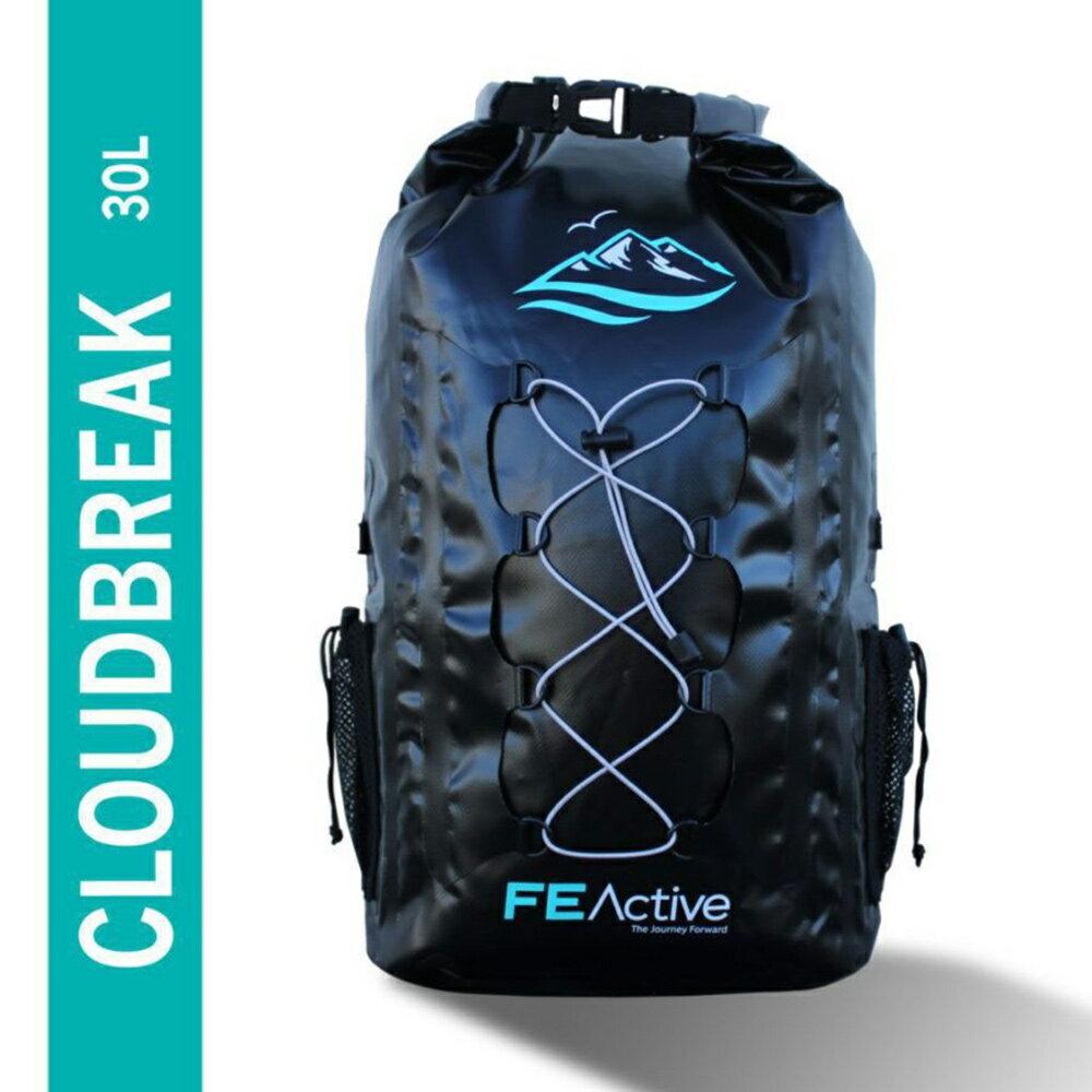 FE Active - CLOUDBREAK 30L USA エコフレンドリー 防水 ドライバッグ バックパック リュックサック アウトドアやウォーターアクティビティーで大活躍 中綿入りショルダーストラップ ベース生地のうね織りと、裏面メッシュ生地による収納力が特徴