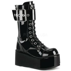 DEMONIA【取り寄せ】デモニア・レースアップベルトミッドカーフ厚底ロングブーツ/品番:PETROL-150/PETROL150/9cmヒール/ゴシック/原宿系/フェティッシュ/厚底靴/厚底シューズ/大きいサイズ/靴/ユニセックス/エナメルブラック/黒