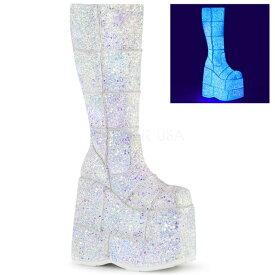 DEMONIA【取り寄せ】デモニア・パッチワークグリッター超厚底ロングブーツ/品番:STACK-301G/STA301G/18cmヒール/ゴシック/原宿系/フェティッシュ/厚底靴/厚底シューズ/靴/ホワイト/白