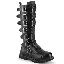 DEMONIA【取り寄せ】デモニア・マルチプルバックルメタルプレートロングブーツ/品番:RIOT-21MP/RIOT21MP/2cmソール/ゴシック/原宿系/原宿ファッション/フェティッシュ/メンズ/ユニセックス/シューズ/大きいサイズ/靴/リアルレザーブラック/黒