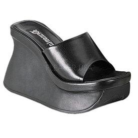 DEMONIA【取り寄せ】デモニア・厚底ウェッジソールサンダル/品番:PACE-01/PAC01/11cmソール/ゴシック/原宿系/フェティッシュ/厚底靴/厚底シューズ/大きいサイズ/靴/フェイクレザーブラック/合皮黒