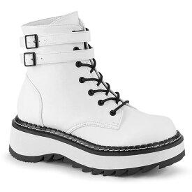 DEMONIA【取り寄せ】デモニア・ダブルアンクルストラップレースアップショートブーツ/品番:LILITH-152/LILITH152/3cmソール/ゴシック/原宿系/フェティッシュ/厚底靴/厚底シューズ/大きいサイズ/靴/フェイクレザーホワイト/白