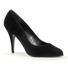 PLEASER【取り寄せ】プリーザー・プレーンパンプス/品番:VANITY-420/VAN420/10cmヒール/ドレス/靴/ピンヒール/ハイヒール/ポインテッドトゥ/大きいサイズ/ベルベットブラック/黒