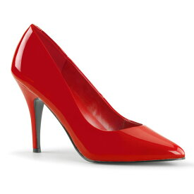 PLEASER【取り寄せ】プリーザー・プレーンパンプス/品番:VANITY-420/VAN420/10cmヒール/ドレス/靴/ピンヒール/ハイヒール/ポインテッドトゥ/大きいサイズ/エナメルレッド/赤