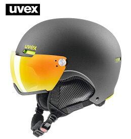 18-19ウベックス(UVEX)バイザー付スキーヘルメット「hlmt 500 visor」ガン/ライムマット