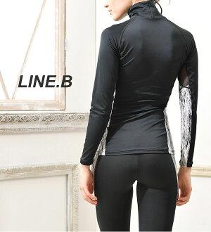 ラインビーLINE.BUVカット率99%ハイネックTOPレディーススポーツインナー吸汗速乾ランニングゴルフテニススポーツウェアアンダーウェアFT0164