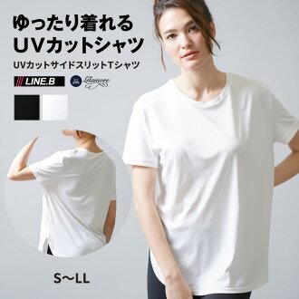 99%紫外线切断比体育内线。 B 侧缝 T 衬衫 FT0115 (S-LL) 妇女的紫外吸收汗水干燥固体的马拉松