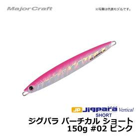 メジャークラフト ジグパラ バーチカル ショート 150g ピンク / メタルジグ