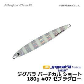 メジャークラフト ジグパラ バーチカル ショート 180g ゼブラグロー / メタルジグ