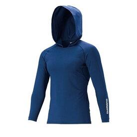 シマノ(Shimano) IN-062Q SUN PROTECTION ロングスリーブフーディシャツ ネイビー M / シャツ アンダーウェア 吸水速乾 UVカット フード付き 【6/30迄 キャッシュレス5%還元対象】