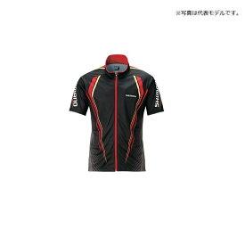 シマノ(Shimano) SH-052S フルジッププリントシャツ(半袖) XL ブラック / ウェア 上着 半袖 【釣具 釣り具】