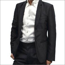 【LLサイズ・1点限り】細身ジャケットテーラードジャケット 光沢調 黒ブラック/メンズ カジュアル お兄系 キレイめ ホスト 通販 [セットアップ スーツにコーディネートも可能] 日本製 ファッション あす楽 おしゃれ ちょいワル 【送料無料】