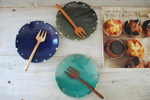 人気食器 ミニドット 水玉プレート ディープブルー 洋皿 美濃焼 おうちカフェ 朝ごはん【人気食器 プレート 美濃焼 SALE】