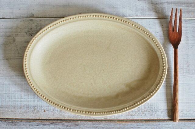 人気商品 新色 リムプチドット オーバルプレート 24センチ アイボリー 美濃焼 人気洋食器 【今月のSALE 人気食器 美濃焼 インスタグラム】