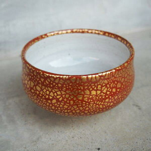 抹茶碗 錦金彩 赤 高級 有田焼 直径12.5cm