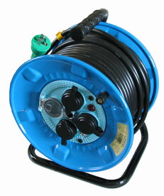 【日動工業】 防雨・防塵型ドラム(屋外型)30m NPW-EB33 アース付き(ポッキンプラグ付き)・3芯・漏電遮断機付き