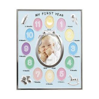 LADONNA (LaDonna) / 12 months baby frames / MB21-BL / blue / baby / photo frame / baby shower / birth anniversary kabukichō Memorial Photo #300#