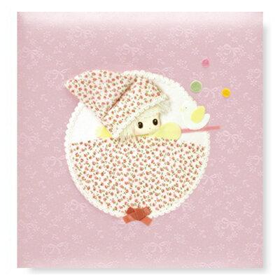 【刺繍名入れ代込み】【送料無料】ナカバヤシ ベビー フエルアルバム 誕生用 メリー ア-LB-330-1 ピンク フォトアルバム 誕生祝い 写真 大容量 / エコー写真 妊娠 出産 マタニティ 赤ちゃん 記録 思い出 成長 #101# #105#