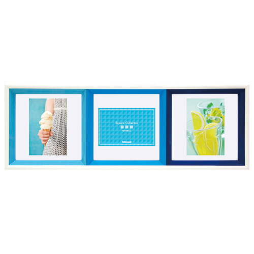 【ポイント5倍】フォトフレーム ナカバヤシ スクエアコレクション・3面 フ-TP-220-B ブルー 複数枚 多面 写真立て 写真たて #301#