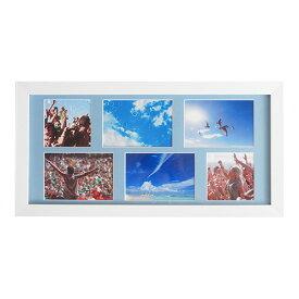 \期間限定セール/【ネット限定】【メーカー取寄】ナカバヤシ 6WINDOWS【452×224】多面マット式 壁掛け 木製フォトフレーム 長方形タイプ [ホワイト] IT-FLAME-T W [マットカラー:ブルー]【写真 L判×4枚 ましかくプリントサイズ×2枚 対応】 #300# #301#