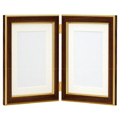 フォトフレーム 写真立て ナカバヤシ 樹脂製 写真立 フォトスタンド 記念写真用 木目調 2L判タテ+2L判タテ フ-TP-161BR ブラウン 集合写真 #301#