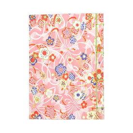 【ポイント5倍】ナカバヤシ 和綴帖 A6サイズ 横綴じ 小花ピンク(糸の色:黄緑 ) ノ-WTJ-A6-1